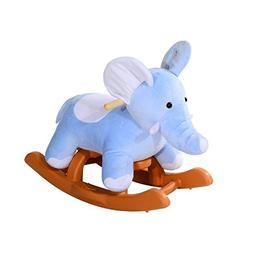 Qaba Kids Plush Rocking Horse-Style Elephant Theme Rocker Ch