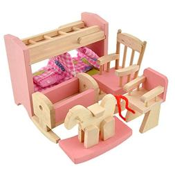 Soledi Delicate House Furniture Pink Wooden Dolls Toy Miniat
