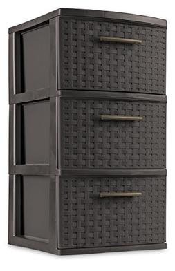 STERILITE 26306P02 Decorative 3-Drawer Storage Weave Tower,