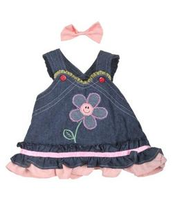 Stuffems Toy Shop Summer Denim Dress w/Bow Teddy Bear Clothe