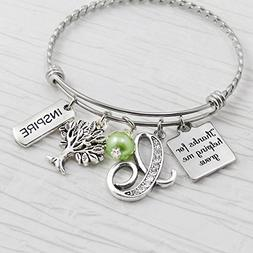 Teacher Bangle, Thank you for helping me grow Teacher Gifts,