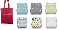 Thirsties Newborn All in One Snap Cloth Diaper - 6 Pack Gend