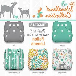 Thirsties Package, Snap Natural Newborn All In One, Woodland
