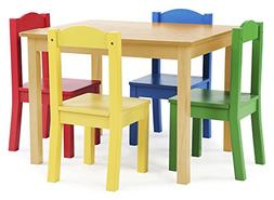 Tot Tutors TC715 Primary Collection Kids Wood Table & 4 Chai