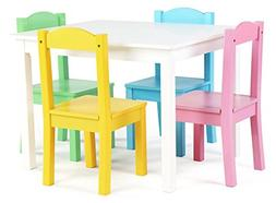 Tot Tutors TC714 Pastel Collection Kids Wood Table & 4 Chair