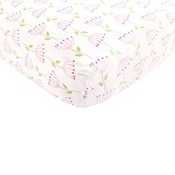 Touched by Nature Organic Cotton Fitted Crib Sheet, Pink Fea