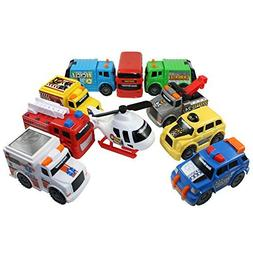 Toy State Emergency City Vehicles set of 10- Police, Fire Tr