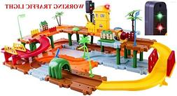 WolVol Big Train Tracks Set Toy for Kids with Upper and Lowe