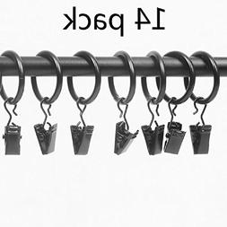 Xin store 14-pack Black Matte Metal Curtain Rings with Clips