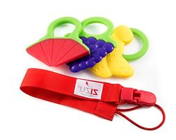 ZIZU Baby Teether Toys with Pacifier Clip - Set of 3