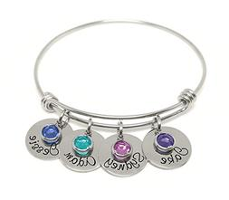 A Personalized Adjustable Charm Bangle Bracelet - Name And B