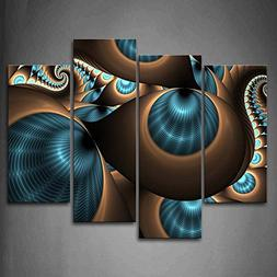 Abstract Blue Brown Like Several Holes Wall Art Painting The