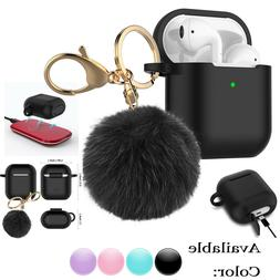 Airpods Silicone Protective Cover Skin Case With Fur Ball Ke