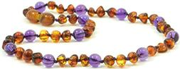 Amber Teething Necklace - Unisex -  - Cognac / Amethyst - Ha