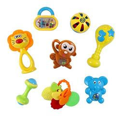 Animal Fun 8 Piece Baby Rattle and Teether Toy Play Set in M