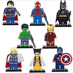 Set of 8 Avengers Superheroes + FREE Spider Man Flashlight w