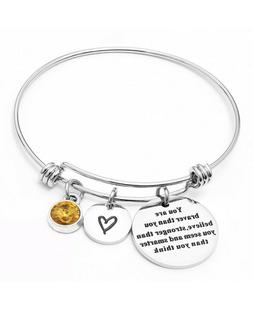 Amaxer Baby Birthstone DIY Stainless Steel Adjustable Bangle