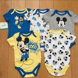 Disney Baby Boys' Infant Mickey Mouse 5 Pack Bodysuits Rompe