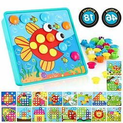 Baby Color Button Art Toys for Toddler, DIY Educational Lear