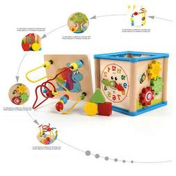 Baby Educational Multifunctional Cube Toy Wooden Bead Maze S