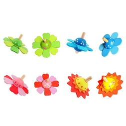 Baby Flower Rotate Wood Toys for Kids Spinning Top Develop E