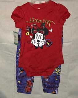 Disney Baby Girls 2pc Minnie Mouse Outfit Set Size 3-6 Month