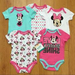 Disney Baby Girls Minnie Mouse 5 Pack Bodysuits Romper Outfi