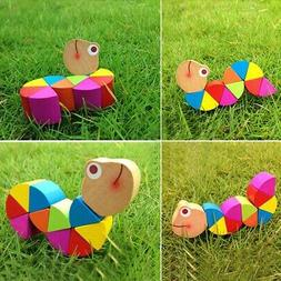 Baby Kids Insects Wooden Toys Twist  Retro Child Educational