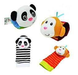 Baby Learning Fun - Animal Wrist and Sock Rattle Soft Develo