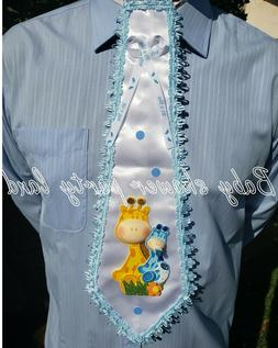 BABY SHOWER DECORATION FOR BOY, DAD TO BE TIE Giraffe Ribbon