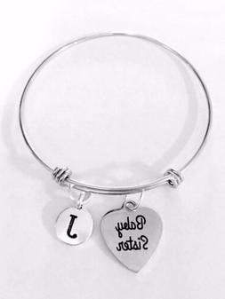Baby Sister Bangle Charm Bracelet Initial Gift For Little Si