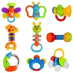 Baby Teethers Toys Rattles And Shakers 9 PCS, Newborn Gift S