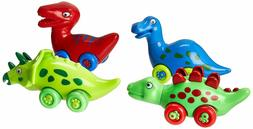 VATOS Baby Toy Dinosaur Car, 4 Pack Pull Back Car Toys for 1
