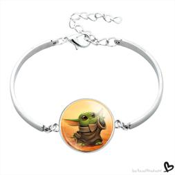 Baby Yoda Child Bracelet Bangle Glass Cabochon Pendant Silve