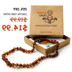 "Baltic Amber Necklace For Baby Teeth Pain Relief 12.5"" - Tee"
