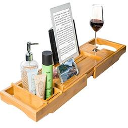 Royal Casa Bamboo Bathtub Caddy With Cover, Wooden Shower Ba