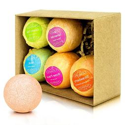 Bath Bombs Gift Set by F-color, 6 Unique Handcrafted Bath Fi