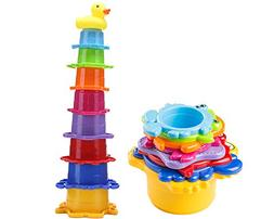 Toddler Bath Stacking Cups Best for Baby and Kids, Rainbow C