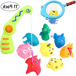 BESTOYARD Bath Toy Fishing Game with Magnetic Fishing Rod, I