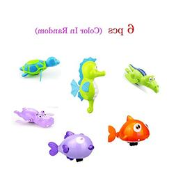 6 pcs Baby Bath Toy Wind-Up Bathing Swimming Shower Toy Cloc