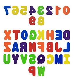 Bath Toys 36-Piece Set. Stick-On Foam Letters & Numbers by B
