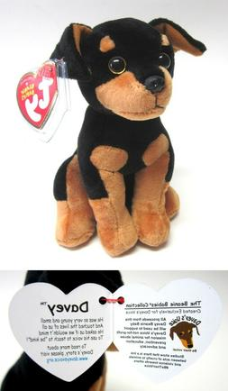 """Ty Beanie Baby DAVEY The Doberman """"Designed for Davey's Voic"""