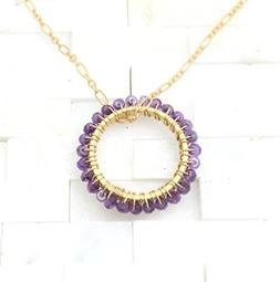 Birthstone Circle necklace gold plate mom pendant