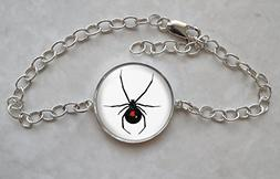 Black Widow Spider Sterling Silver Charm Bracelet