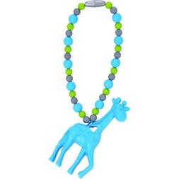 Nummy Beads Blue Giraffe Teether Toy Attaches To Baby Carrie