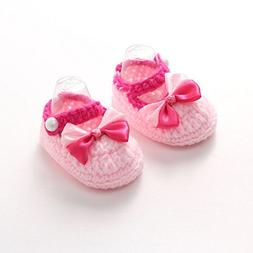 Somzie Bow Baby Girl Shoes Pink Crochet Booties Handmade Inf