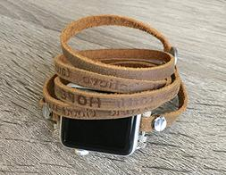 Brown Leather Strap For Apple Watch Series 1 2 & 3  Handcraf