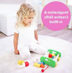 Wooden Toys Club Building Blocks Car for Toddlers – Real W