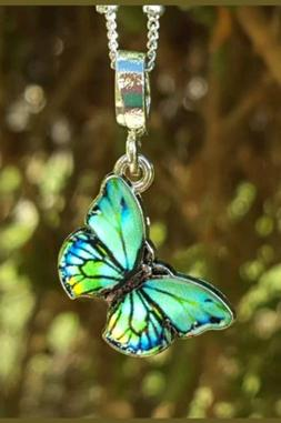 🦋 BUTTERFLY NECKLACE 🦋 TEAL BLUE  BUTTERFLY 🦋 BIRTH