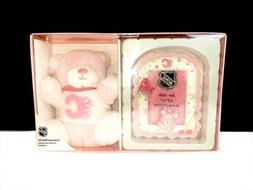 Calgary Flames - Pink Teddy Bear and Picture Frame For A Bab